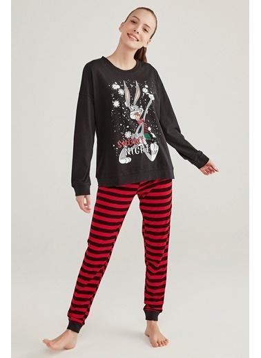 Penti Çizgili Bugs Pijama Takımı Siyah